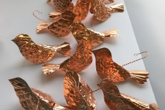 Copper Christmas Bird Ornaments